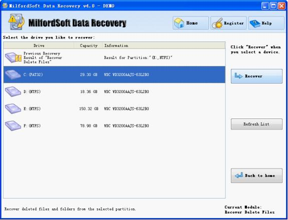 all partitions in the computer are shown in this interface select the one where deleted file recovery will be carried out and click recover to scan it