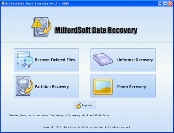 Use data recovery free software, MilfordSoft Data Recovery, to