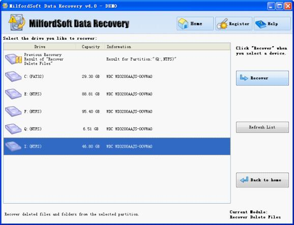 in this interface we can see all partitions in computer disk select the partition containing deleted files and click recover button