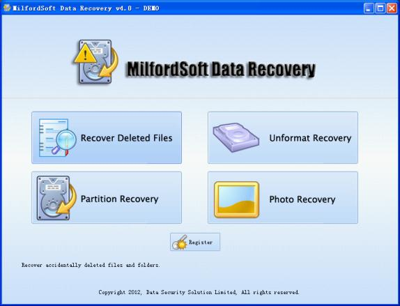 We can recover deleted files with MilfordSoft Data Recovery.